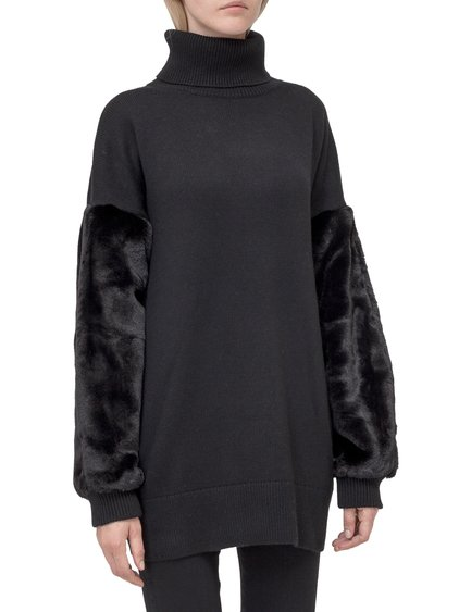 Sweater with Fur Sleeves image