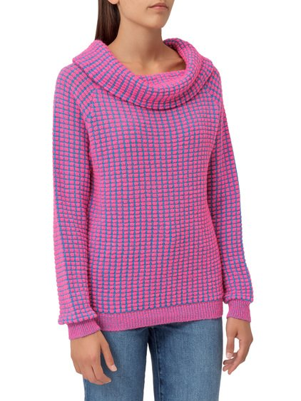 Sweater with long sleeves featuring a bouclé effect image