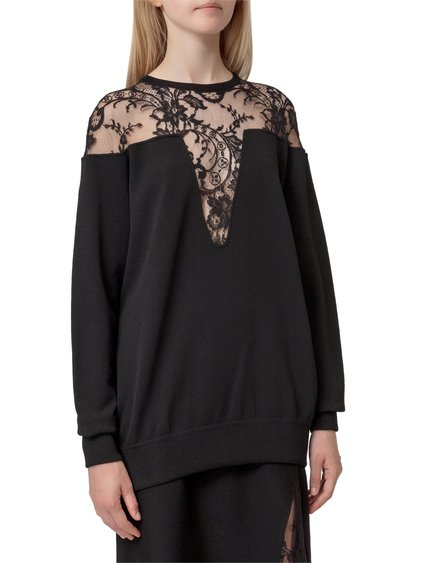 Sweater with Lace Insert image