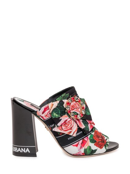 Fabric Mules with Jewel Buckle image