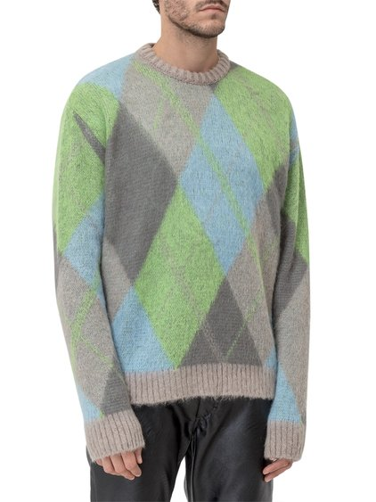 Round-Necked Sweater with Diamond Shapes image