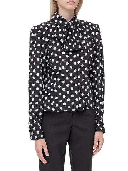 Shirt with Polka Dot Motif and Bow image