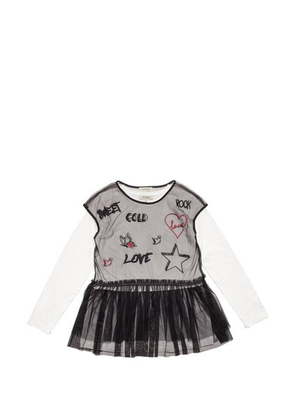 Tulle Blouse with Embroideries and T-Shirt image