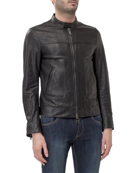 Leather Jacket with Branded Plate image