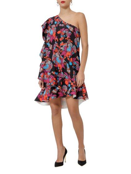 Asymmetrical Floral Print Silk Crepe Dress image