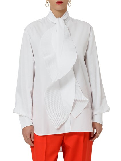 Cotton Shirt with Pleated Scarf image
