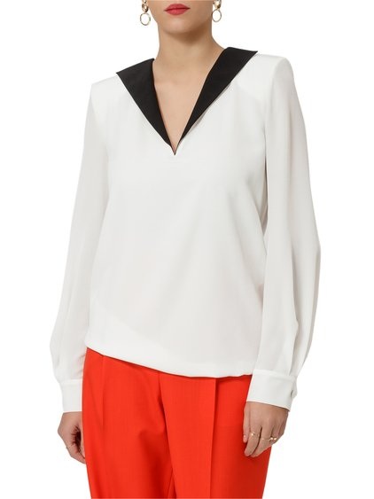 Crepe de Chine V Neck Blouse image