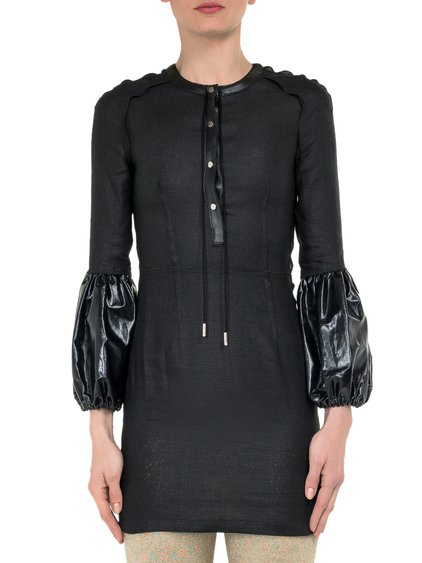 Black Mini Dress with Puff Sleeves image