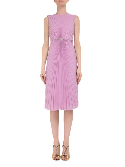 Pleated Silk Shift Dress image