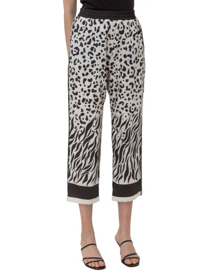 Cropped Trousers with Animalier Print image
