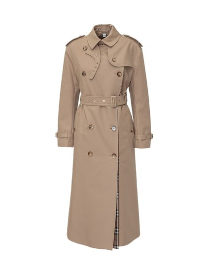 Check panel gabardine loop-back trench coat image