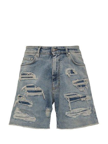 Shredded Denim Shorts image