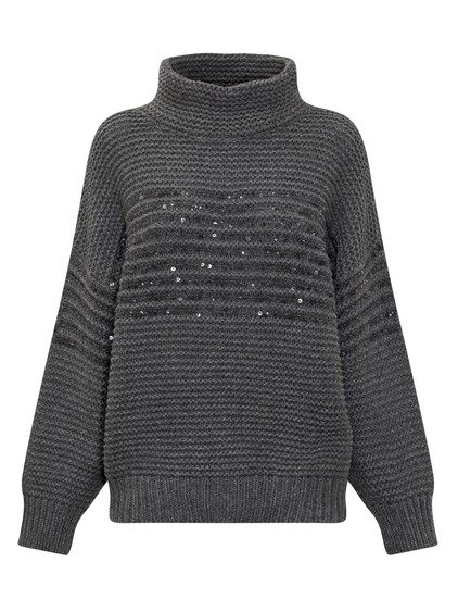 Striped Mohair Knitwear with Paillettes image