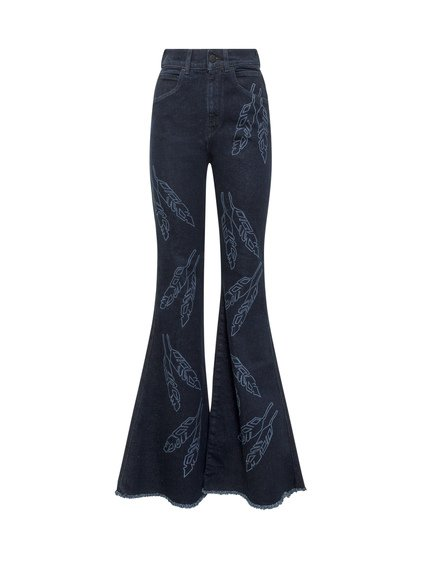 Flare Jeans with Feathers Print image