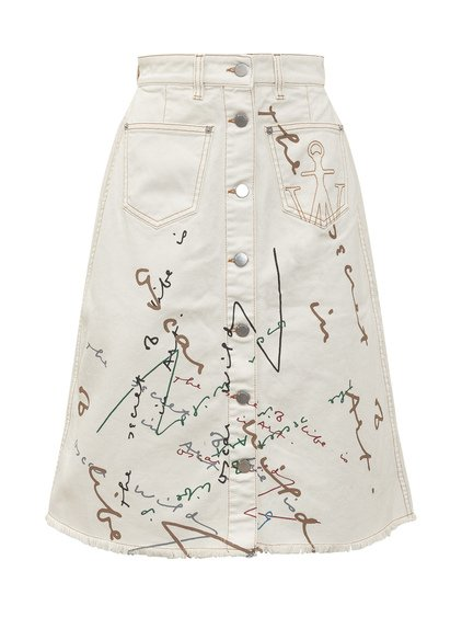 Denim Skirt with Prints image