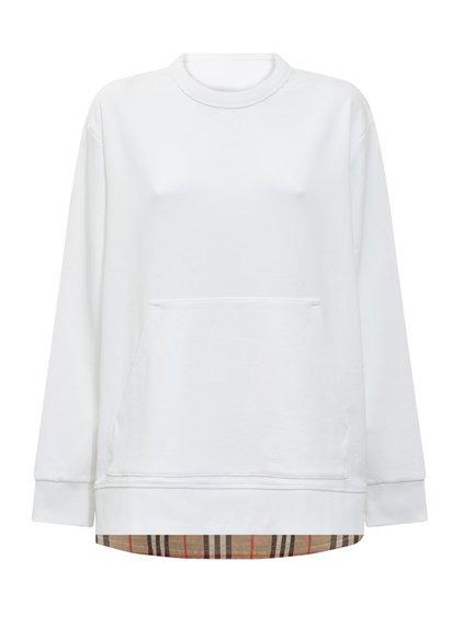 Oversize Sweatshirt with Tartan Pattern Insert image